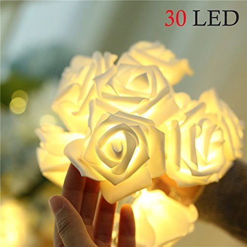 Asien Rose Flower String Lights, 9.8FT/3M 30 LED Bulbs Battery Operated Romantic Fairy Lights for Wedding Garden Festival Party Halloween Christmas Indoor & Outdoor Decoration-Warm White -
