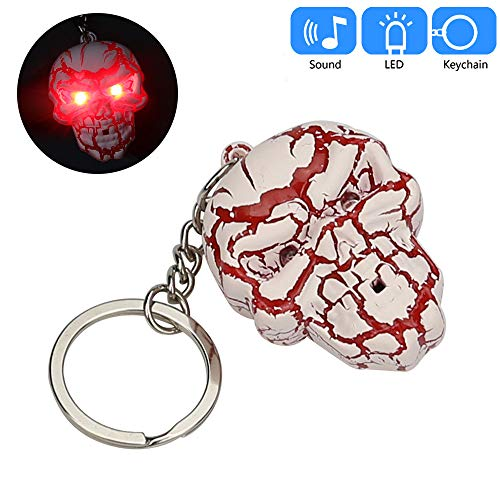 Glumes Cute Halloween Skeleton Keychain with LED Flashlight and Sound Effects 3D Cute Cartoon Key Holder For Children Designer Key Ring for Kids Christmas Thanksgiving Gift 1 PCS ()