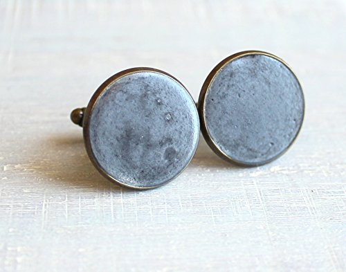 Charcoal color concrete and brass cufflinks by Nature With You