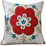 LivebyCare Embroidery Floral Filled Throw Pillow PP Cotton Insert 18x18 Inch Seat Back Cushion Zipper for Decorative Couch Sofa Bed Graduation