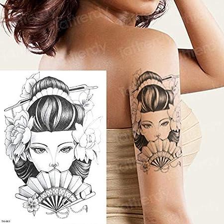 tzxdbh Geisha del Tatuaje japonés Tatuaje Temporal Pegatina ...