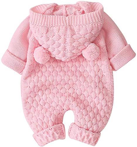 Loalirando Pagliaccetto Neonato Invernale con Cppuccio Body a Manica Lunga Bambina in Maglia Lavorata Tutina Invernale… 2