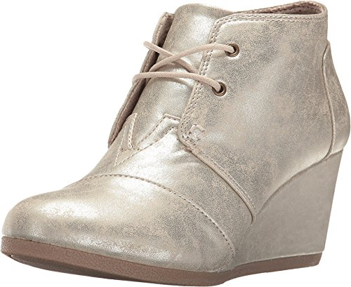 Wedge White Gold Metallic Synthetic Leather 6.5 B US B (M) ()