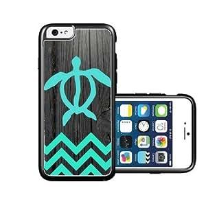 RCGrafix Brand Teal Hawaiian Turtle Honu On Dark Wood iPhone 6 Case - Fits NEW Apple iPhone 6