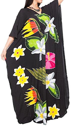 La Leela beachwear maillots de bain de rayonne des femmes couvrir caftans aloha de vêtements de nuit multiples noir
