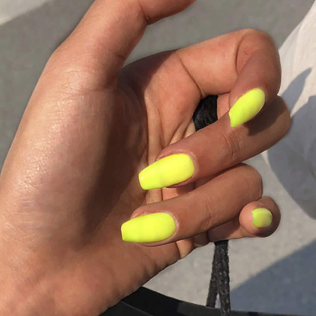 Amazon Com Drecode Matte Fake Nails Ballerina Pure Color Yellow Fake Nail Full Cover Acrylic False Nails Punk Party Porm Clip On Nail For Women And Girls 24pcs Beauty