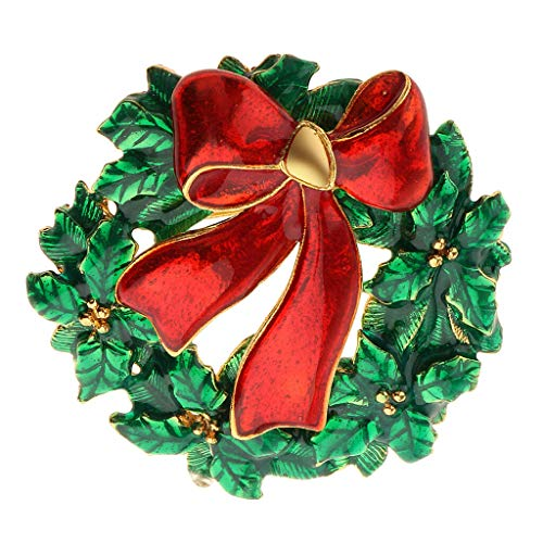 Christmas Pins Flower Knot Shaped Enamel Brooch Pin Necklace Pendant