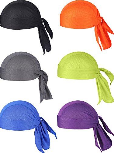 Chuangdi 6 Pieces Sweat Wicking Beanie Cap Hat Skull Cap, Pirate - Skull Pirate Hat