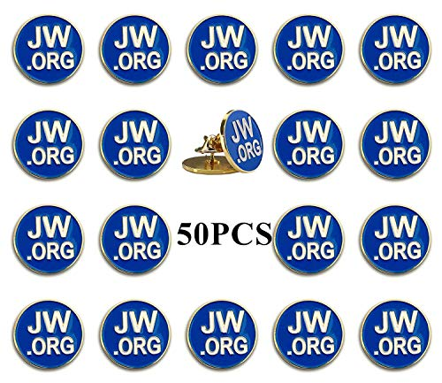 PHAETON 50PCS Round Blue Lapel Pin - JW.org Neck Tie Hat Tack Clip Women or Men Suits-Gold Round Jehovah Witness Lapel Pin