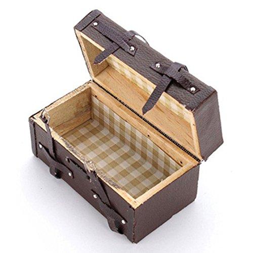 SODIAL 1:12 Doll hou Miniature Vintage Leather Wood Suitca Mini Luggage Box (Vintage Wood Doll)