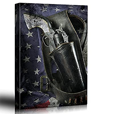 Pistol and Flag Revolver in a Holster and Gun Belt with The American Flag Draped Behind Patriotic Rustic Art