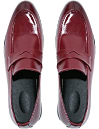 8e1a96fadcb Men s Penny Loafer Classic Modern Pointed Toe Oxfords Slip On Dress Shoes  Black Blue Red Brown