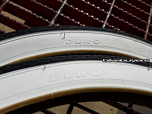 1 PAIR of Duro Diamond Tread Tire White Wall 26 x 2.125, for Beach Cruiser Bikes