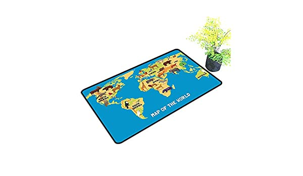 ea5118d5aaa gmnalahome Super Absorbs Mud Doormat Flat Map of World Artwork with Animals  Living in Different Parts of Continents No Odor Durable Anti-Slip W35 x H23  INCH