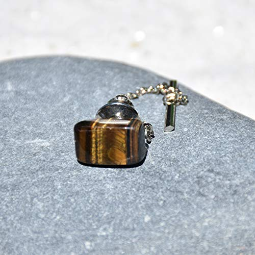 Custom Gold Tigers Eye Stone Cuff Links and Tie Tack Set Made to Order