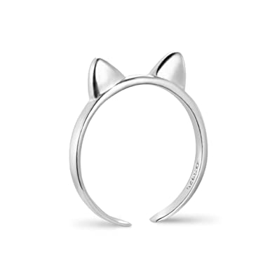 Sweetiee 925 Sterling Silver Finger Ring with Cat Ear and Paw Platinum Size O Adjustable for Woman JX3gLBu