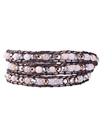 KELITCH Synthetic Turquoise Mother of Pearl Silver Mix Beaded 3 Wrap Bracelet Handmade New Cuff Jewelry …