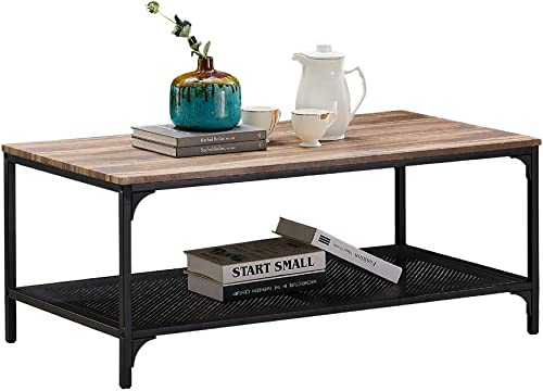 HOMYSHOPY Industrial Coffee Table, Rectangular Cocktail Table with Metal Storage Shelf for Living Room, Vintage Brown