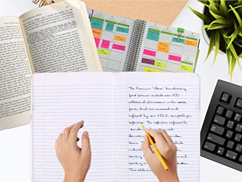 1InTheOffice College-Notizbuch, liniert, 100 Blatt, 19 x 24 cm, 3er-Pack