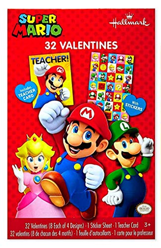 Kids Valentines Classroom Exchange Cards (Hallmark Super Mario 32 Valentines, Stickers, Teacher's Cards)]()