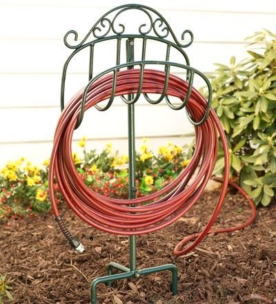 Plow & Hearth 51170-GR Scroll Wrought Iron Outdoor Garden Hose Holder with Ground Stake, 15'' L x 7'' W x 37.5'' H, Green