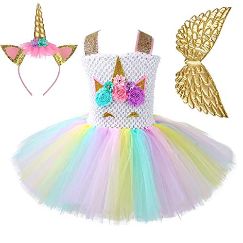 Best Handmade Costumes (Unicorn Tutu Dress for Girls Birthday Party Dress Handmade Pastel Unicorn Costume Outfit with Headband Wings Gold Unicorn)
