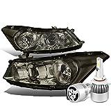 2008 accord sedan headlights - Honda Accord 8th Gen Sedan CP2/CP3 Smoked Lens Clear Corner Headlight + 9006 LED Conversion Kit W/ Fan