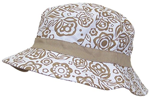 Solid Wing Reversible Summer Floppy Bucket Hat W/Hawaiian Designs (One Size) - Tan (Hawaiian Print Sun Hat)