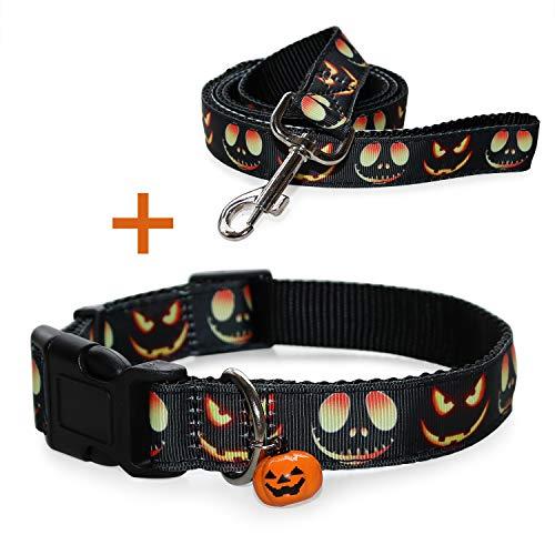 RYPET Halloween Dog Collar and Leash - Pumpkin Dog Collar with Cute Bell, Medium, Neck 12