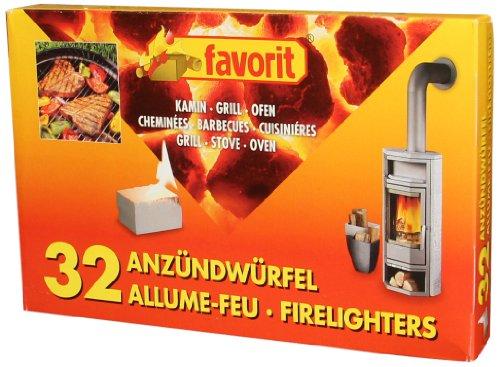 favorit 1250 Anzündwürfel für Grill, Kamin und Ofen, 32-er Pack
