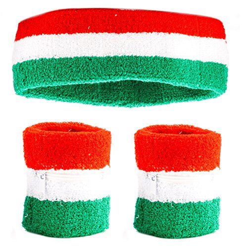Funny Guy Mugs Italy Unisex Sweatband Set (3-Pack: 2 Wristbands with Zipper/Wrist Wallet & 1 Headband) -