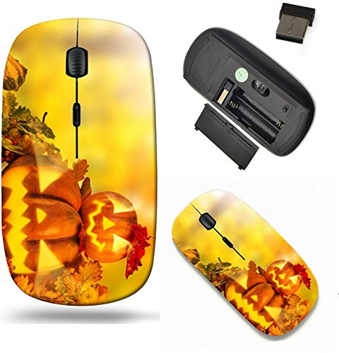 Liili Wireless Mouse Travel 2.4G Wireless Mice with USB Receiver, Click with 1000 DPI for notebook, pc, laptop, computer, mac book IMAGE ID 32239153 Scary jack o lantern halloween background close up ()