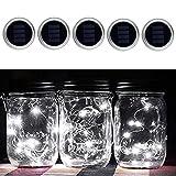 Solar Mason Jar Lights Lid Pack of 5, Solar 10 Led String Fairy Light Lid Insert, LED Jar Lantern for Garden Patio Porch Table (White)