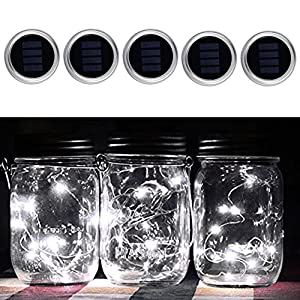 5 Pack Solar Mason Jar Lights 10 LED Cool White Fairy Hanging Lighting String Lids Insert Fit for Regular Mason Jars for Christmas Holiday Party Wedding Garden Patio Path Outdoor Lamp Decoration