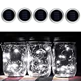 5 PCS Solar Mason Jar Lid Insert Patio Garden Porch Yard Decoration LED Fairy Mason Jar Light White Warm White Multicolor (White)