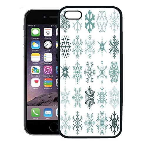 Semtomn Phone Case for iPhone 8 Plus case,Blue Clipart Collection of Different Detailed Snow Flakes for Christmas Time Pictogram iPhone 7 Plus case Cover,Black