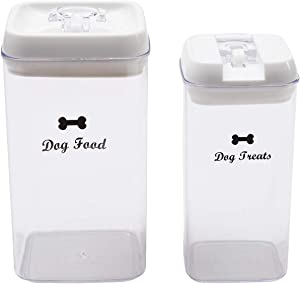 Dog Food and Treats Storage Container - Clear Plastic - Storage Canister Tins
