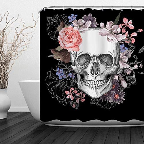 ALFALFA Skulls Shower Curtain,Halloween Bathroom Decorative Curtain, Skull and Flowers Design, Waterproof Fabric, Hooks Included, Weighted Bottom, 72