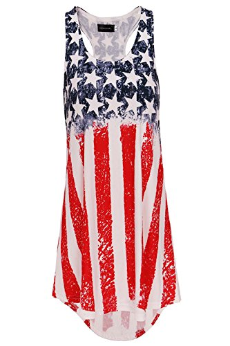 DREAGAL Women's Racer Back USA Flag Tank Top Loose Sleeveless Tunic Shirt Flag3 Medium