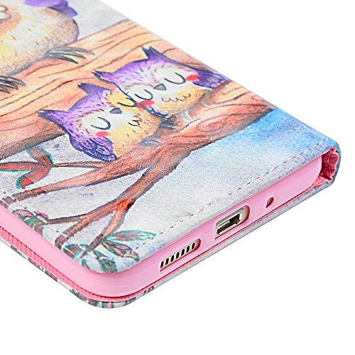 Tophung Huawei P10Lite Case 2017, stoßfest Premium PU Leder Flip Wallet Case mit Standfunktion Magnetverschluss Ordner Kartenhalter Geld Tasche Smart Handy Schutzhülle für Huawei P10Lite eule eule