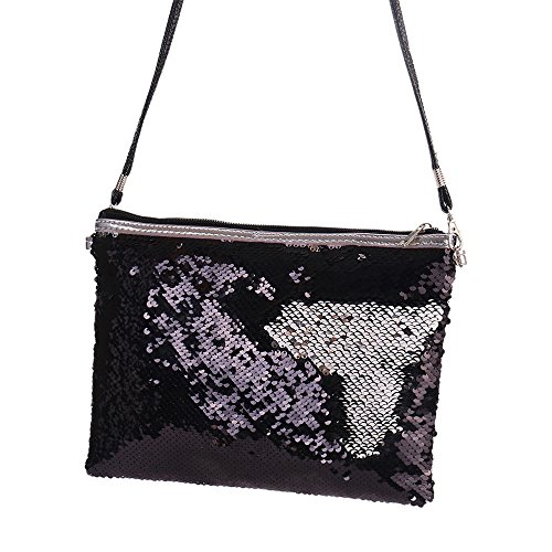 Evening Gold Shoulder Black Ladies Bag Handbag Women for Shoulder Sequin Clutch Bag Glitter Purse Purse aCgnXOwBnq