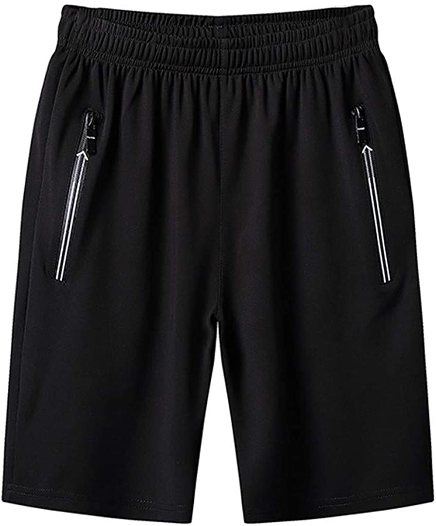 STORTO Mens Solid Casual Shorts Zipper Pockets Workout Fit Gym Jogging Quick Dry Fashion Shorts
