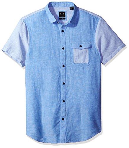 Island Short Sleeve Shirt (A X Armani Exchange Men's Cotton Linen Single Pocket Short Sleeve Shirt, Island Sky, Large)