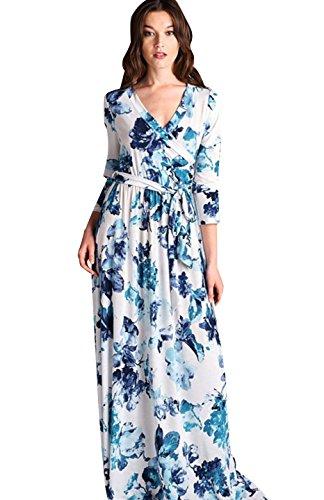 Contemporary Dress Patterns (Bon Rosy Women's Long Sleeve V-Neck Floral Maxi Bohemian Wrap Dress White Blue S)