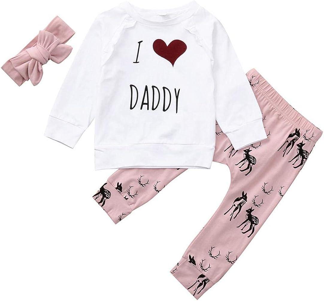 Little Girl Summer Sets,Jchen Baby Kids Little Girls Short Sleeve Letter Print Tops Bell-Bottoms Pants Outfits for 0-4 Yrs