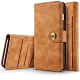 iPhone 6 6s Wallet Case, SAVYOU Detachable Magnetic Wallet Folio Flip Leather Card Holder Case with Removable Slim Hard Back Cover for iPhone 6/iPhone 6s 4.7inch (Light Brown)