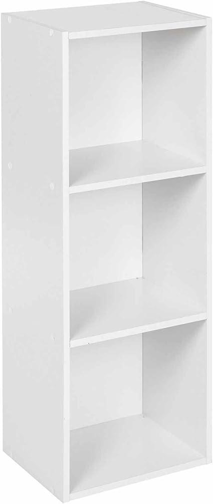 Estantería para organizar CD y DVD, de color blanco, perfecta para la oficina o el hogar y de 2, 3 o 4 estantes, Blanco, 3 niveles