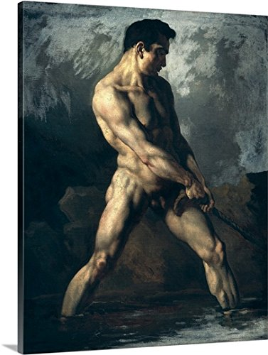 Theodore Gericault Premium Thick-Wrap Canvas Wall Art Print entitled Study of a Male Nude