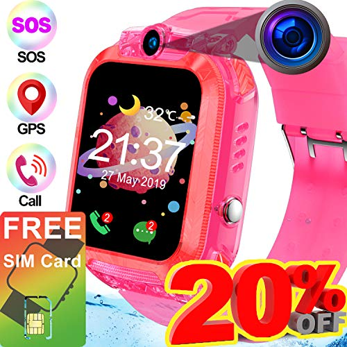 [2019 Upgrade Free SIM Card] Kids Smart Watch GPS Tracker, Waterproof Smart Phone Watch for Girl Boy with GPS Accurate Locator Camera Outdoor Swim SOS Anti-Lost Voice Chat Prime Back to School Gifts