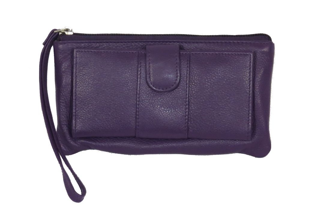 Pielino Womens Genuine Leather Wallet Wristlet with Checkbook Holder 2831 Purple